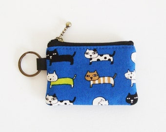 Key/coin purse - cats in blue
