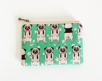 Mini zipper pouch  -pug (green)