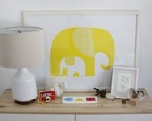 Yellow Elephants Wall Print