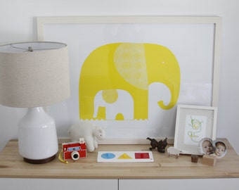 Yellow Elephants Wall Print