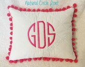 "Monogrammed Handmade Pom Pom Pillow Girl Teen Tween Gift Dorm Sorority Personalized 11x9"" White Home Dec"