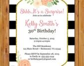 Black White Stripes Floral Surprise Birthday Party Invite Printable Invitation 30th 50th 60th any age 5x7 Digital JPG File (477)
