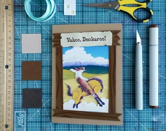Printable Cowboy Bucking Horse Birthday Card, Any Occasion Greeting Card, Digital Download PDF, printable card