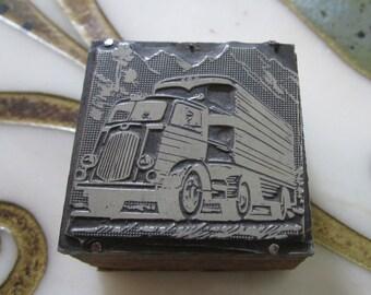 Vintage Letterpress Printers Block Truck