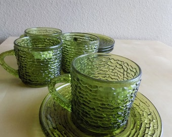 Anchor Hocking Soreno Avocado Green Tea or Coffee Cups and Saucers Set of Four