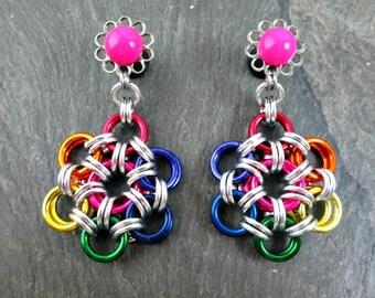 Dangle Plugs - 6g 4mm - Rainbow Plugs - Rainbow Chainmaille - Japanese Weave - Dangle Gauges - Rainbow Earrings