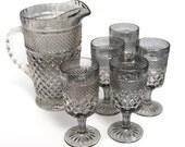 Vintage LARGE Depression Glass Pitcher Set ANCHOR HOCKING 5 Glasses Goblets Diamond Pattern Iridescent Platinum Grey Oxidized