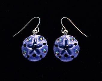 Tropical Sand Dollar Earrings Handpainted in Denim Blue