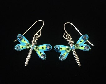 Dragonfly Earrings Sparkling Aqua and Lime