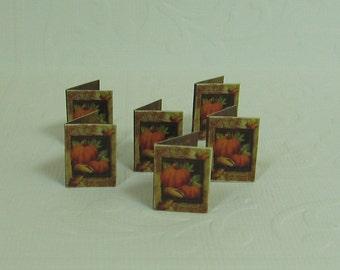 Dollhouse Miniature Set of Six Fall Pumpkins Note Cards