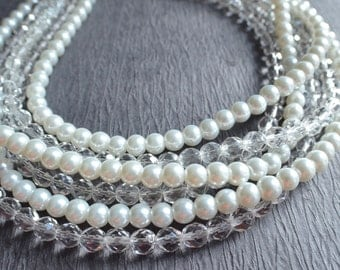 The Alana- White Pearl and Clear Glass Statement Necklace