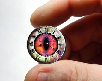 Glass Eyes - Steampunk Clockwork Orange Dragon Glass Eyes Glass Taxidermy Doll Eyes Cabochons - Pair or Single - You Choose Size