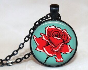 Red Rose on Turquoise Blue - Retro Rose -  Pendant Necklace or Key Chain - Choice of 4 Bezel Colors