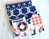 Baby Boy Nautical Burp Cloths  -  Super Absorbent Triple Layer Chenille  -  Set of 3  -  Ahoy Matey, Navy Rigging & Stay The Course