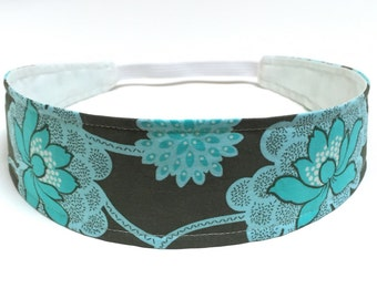 Women's Headband - Reversible Fabric Headband  - Aqua Blue & Grey Floral - Headbands for Women - JESSICA