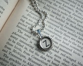 Vintage TYPEWRITER Key NECKLACE Initial Letter Z Black or Light Symbol You Choose Retro Fun