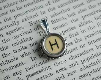 Initial TYPEWRITER Key PENDANT Letter H Black or Light Jewelry Vintage Unique Gift