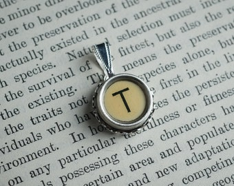 Initial TYPEWRITER Key PENDANT Letter T Black or Light Jewelry Vintage Unique Gift