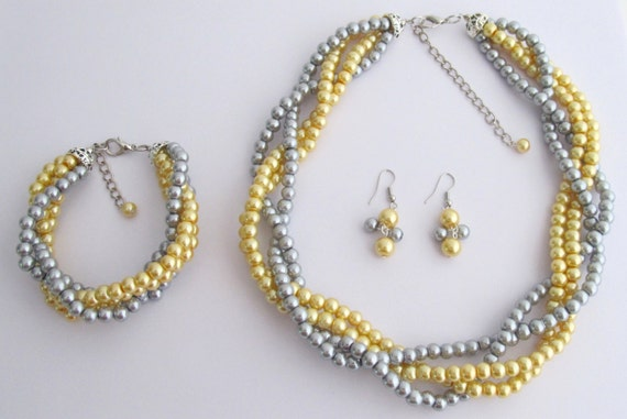 NS1347 Luxurious Braid Four Strand Yellow Gray Pearls Twisted Necklace Earrings Bracelet Free Shipping In US