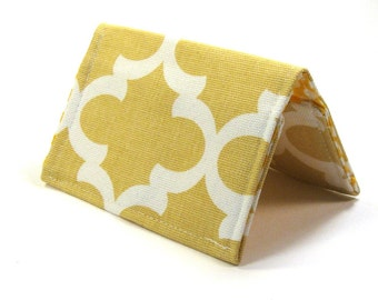 Mini Wallet / Card Holder / Business Card Holder / Card Case / Gift Card Holder/ Small Wallet - Mustard Fulton Fabric