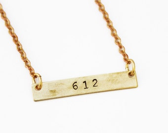 Custom Area Code Necklace / Stamped to your liking/ We can do dates as well
