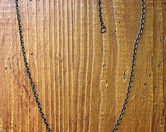 Adjustable Antiqued Brass Plated Chain Necklace