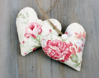 Pair of Lavender Heart Sachets, Pink and Cream Romantic Cottage Decor