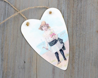 Little Girl on the Seashore, Tin Heart Tag Ornament