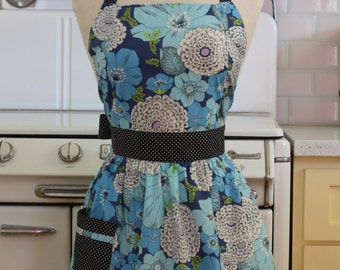 Retro Apron Blue Floral CHLOE