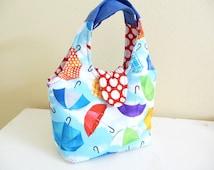 Small Handbag, Umbrella Print Cotton Womens Purse, Fun Gifts for Her