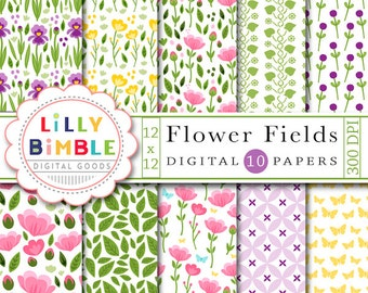 40% off Flower Fields digital scrapbook paper with irises, roses, peonies, butterflies, leaves, stems buds, pretty florals Instant Download