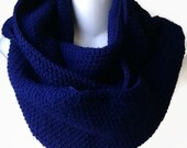 Navy Blue Circle Scarf Infinity Scarf Wool Blend or Wool Loop Men Women CHELSEA Ready to Ship Brother Boyfriend Gift - Autumn Winter Fashion