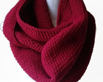 Red Circle Scarf Infinity Scarf Wool Blend Loop Women Men CHELSEA Ready to Ship Sister Girlfriend Gift - Autumn Winter Fashion