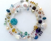 Semi precious gemstone bead wrap bracelet. Handmade, colorful stones.