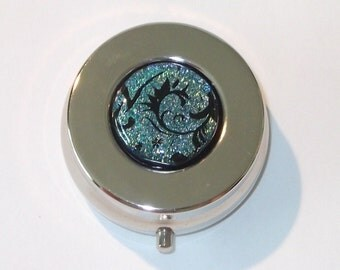 Dichroic Pill Box, Black and Silver/Blue Patterned Dichroic Glass, Handmade Accessories
