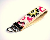 Key Fob, Designer Fabric, Boutique Style, Hot Pink Black and Lime Floral