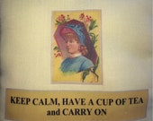 Decorative pillow Keep calm, have a cup of tea & carry on throw pillow yellow linen