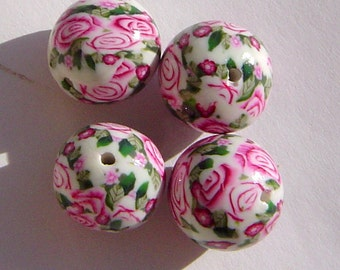 Colorful Round Unique Handmade Artisan Polymer Clay Art Beads