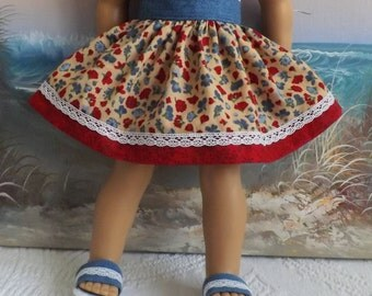 American Girl Doll Clothes Americana Colors Florals Very Gathered Skirt with Waistband Medley NEW Style