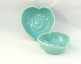 Wedding Something Blue Heart of my Heart Nesting Bowls pottery and ceramics, Two  heart-shaped dishes - two bowls set - wedding couples gift