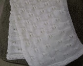 Hand Knit Baby Blanket/ New Born/Preemie/Car Seat/Baby's First Baby Blanket/Winter White