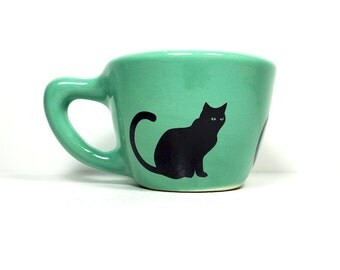 12oz cup black cat - Made to Order / Pick Your Colour
