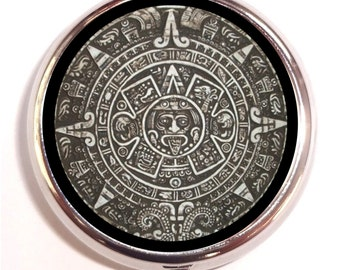 Aztec Mexican Pill box Pillbox Case Aztecs Indian Native American Mexico Ancient Culture New Age Sacred Geometry