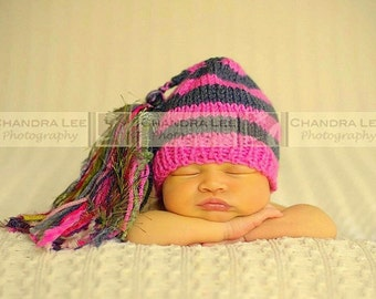 Newborn Knit Girl Hat BaBY PHoTO PRoP Super Tassel BeANiE Hot Pink Charcoal Stripe Sage CHooSE CoLOR Stocking Cap CoMiNG HoME Chuckles Toque
