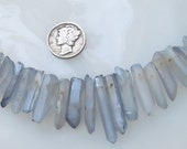 Light Blue Aurora Borealis Raw Quartz Crystal Point Spike Beads Avg Size 12-23mm 15 pcs.