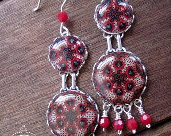Red earrings, Mexican pottery design earrings, Boho earrings, long earrings, Bohemian jewelry, Gypsy earrings, Statement jewelry, boho