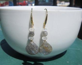 Labradorite Briolette Earrings, Labradorite and Moonstone Earrings, Gemstone Earrings, Under 50,