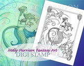 HALF OFF SALE! Pink Pearl  - Digital Stamp - Printable - Instant Download- Mermaid Art - Molly Harrison Fantasy Art, Mermaids