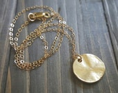 Gold Disc and 14K Gold Filled Necklace, Wrinkle Gold Pendant Necklace