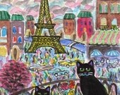 ORIGINAL ART, Black Cats in Paris with Chocolate Bonbons and Eclair, by D M Laughlin